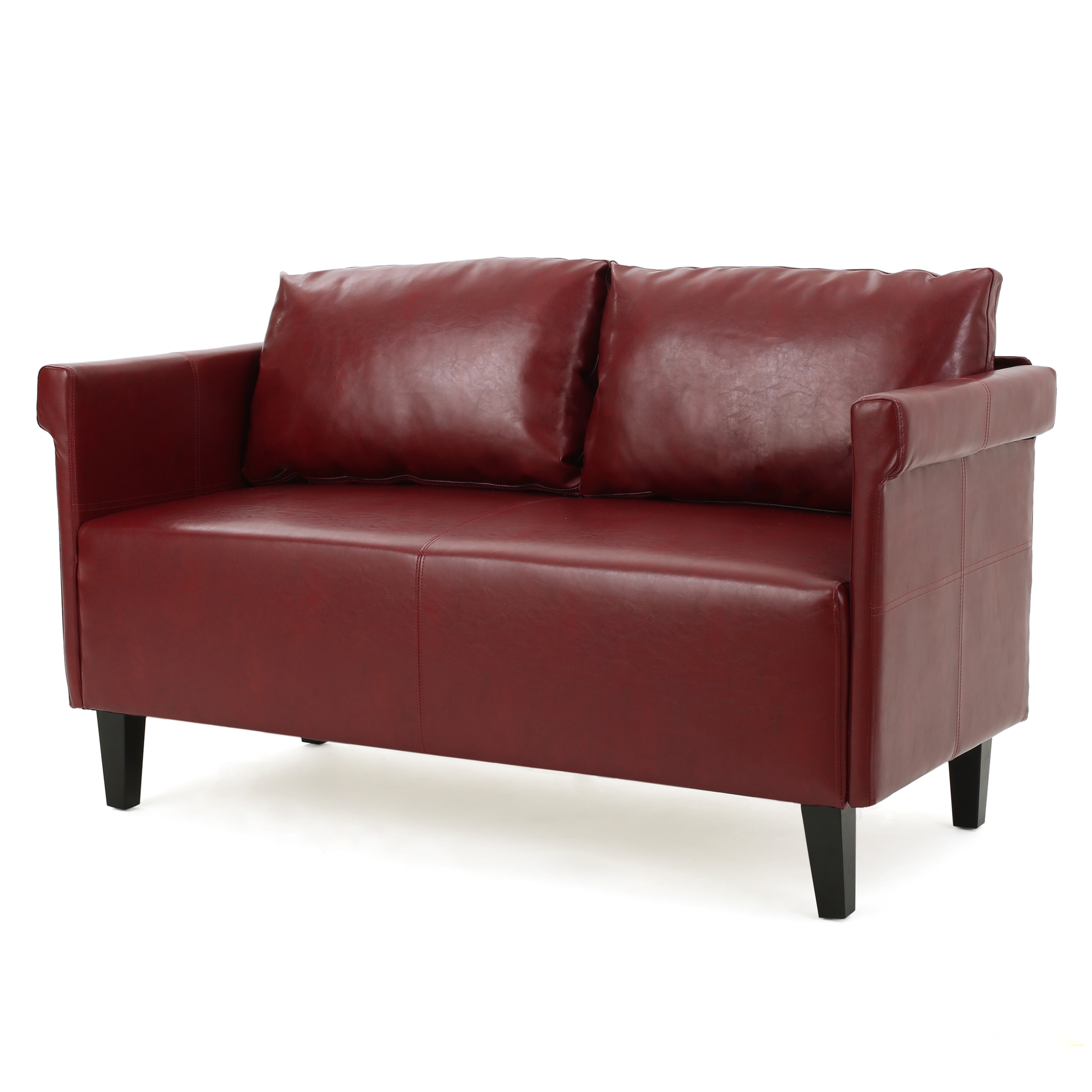 Harbison Leather Settee, Red