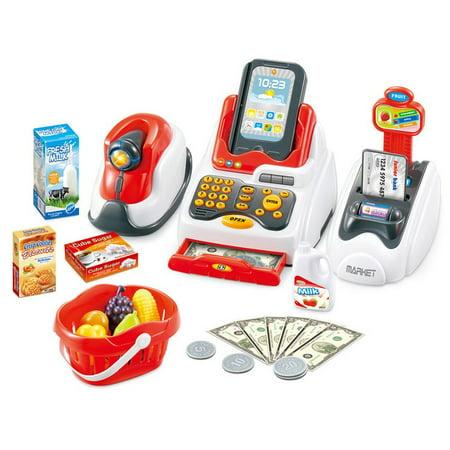 Cash Register Supermarket Set w/scanner, card box and 24 accessories