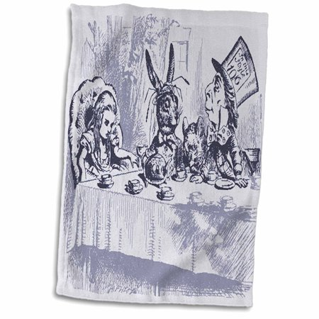 Mad Hatter Tea Party Outfits (3dRose Image of Mad Hatters Tea Party In Vintage Blue - Towel, 15 by)
