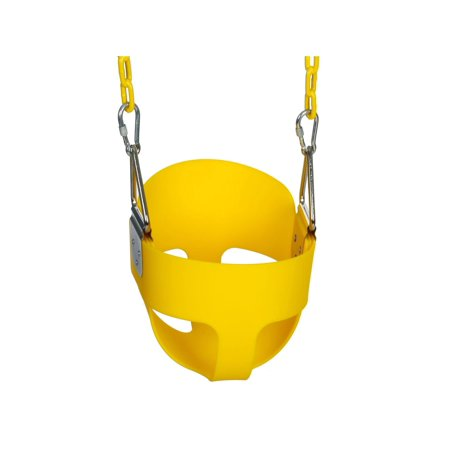 High Full Bucket Swing with Coated Chain,Toddler Swingset Swining Seat Outdoor Kids Toys Yellow/Red/Blue/Green