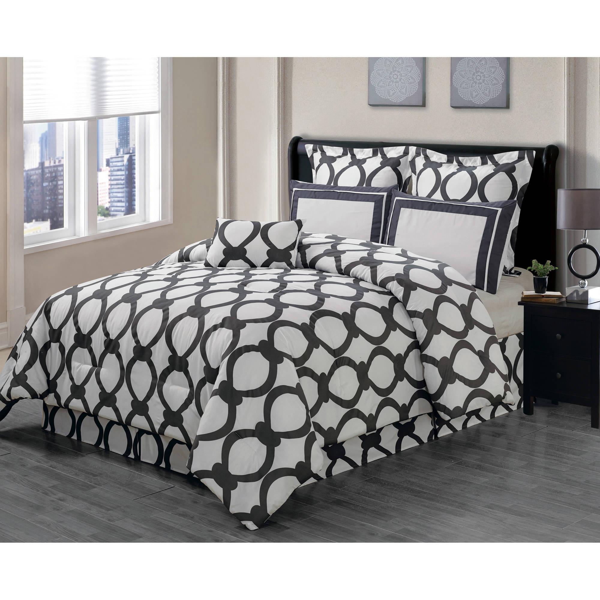 April Orchidea Flower Online 6 Piece Reversible Oversize & Overfilled Queen Comforter Set in Slate Grey