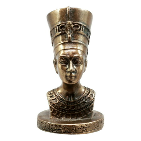 Ebros Gift Classical Egyptian Queen Nefertiti Bust Figurine Miniature Sculpture With Hieroglyphic Base