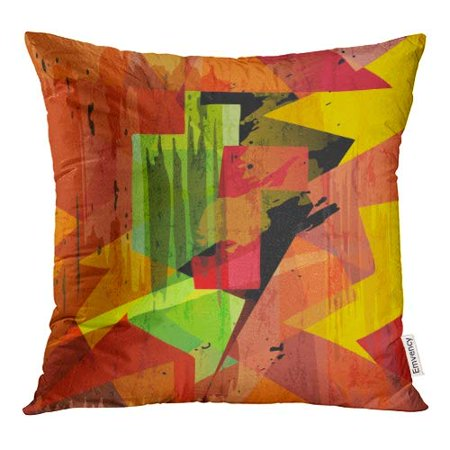 ECCOT Green Wall Abstract Geometric Mosaic Strokes and Splashes Orange Graffiti Pillow Case Pillow Cover 18x18 inch