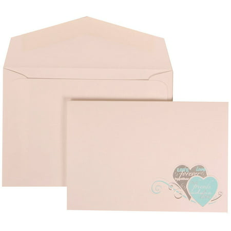 JAM Paper Wedding Invitation Set, Small, 3 3/8 x 4 3/4, White Card with White Envelope Best Friends Forever, 100/pack