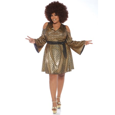 Leg Avenue Women's Plus Size Disco Costume, Gold, 1X-2X