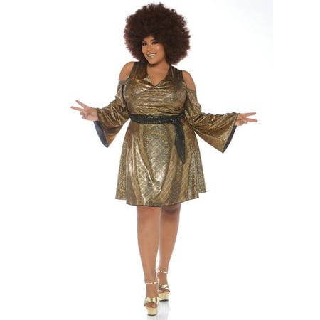 Leg Avenue Women's Plus Size Disco Costume, Gold, 1X-2X (Good Duo Costumes)