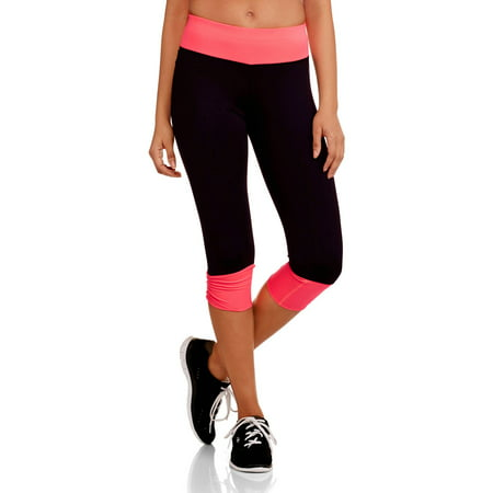 Juniors' Active Ruched 18 Capri Performance Pants with Contrast - Logo Capri Pants