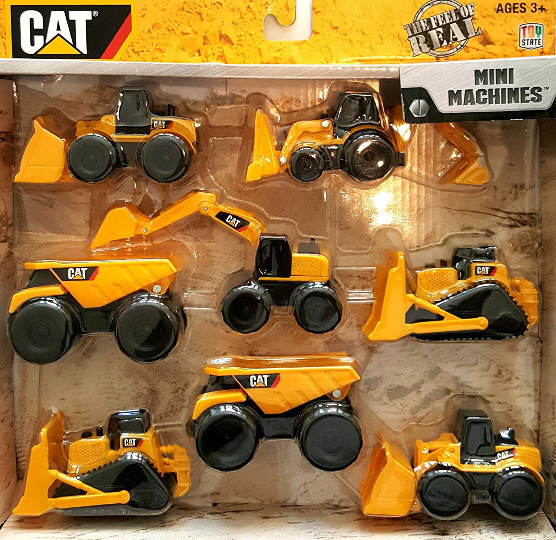 CAT Construction Mini Machine 8-Pack, 1 Excavator, 2 Bulldozers, 2 Wheel Loaders, 1 Backhoe and 2 Dump Trucks... by