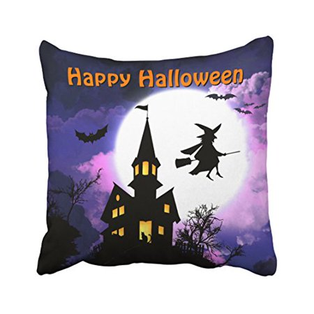 WinHome Scary Haunted House With Witch Happy Halloween Throw Pillow Covers Cushion Cover Case 18x18 Inches Pillowcases Two Side - Scary Happy Halloween Wallpaper