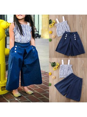 323ab36794 Product Image Toddler Baby Girl Vertical Striped Tops+Denim Loose Pants  Jeans 2Pcs Outfits Set White 1