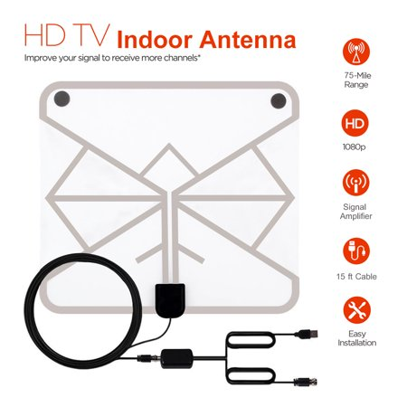 4K TV Antenna – Indoor Digital HDTV Antenna 80 Miles Range, 4K HD VHF UHF  Freeview for Life Local Channels Broadcast, Amplified HD TV Antenna for