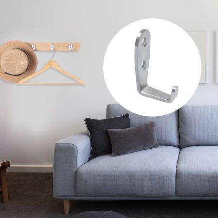 Wall Hooks Stainless Steel 50mm Hook Coat Hanger w Screws Silver Tone 3pcs - image 1 de 7