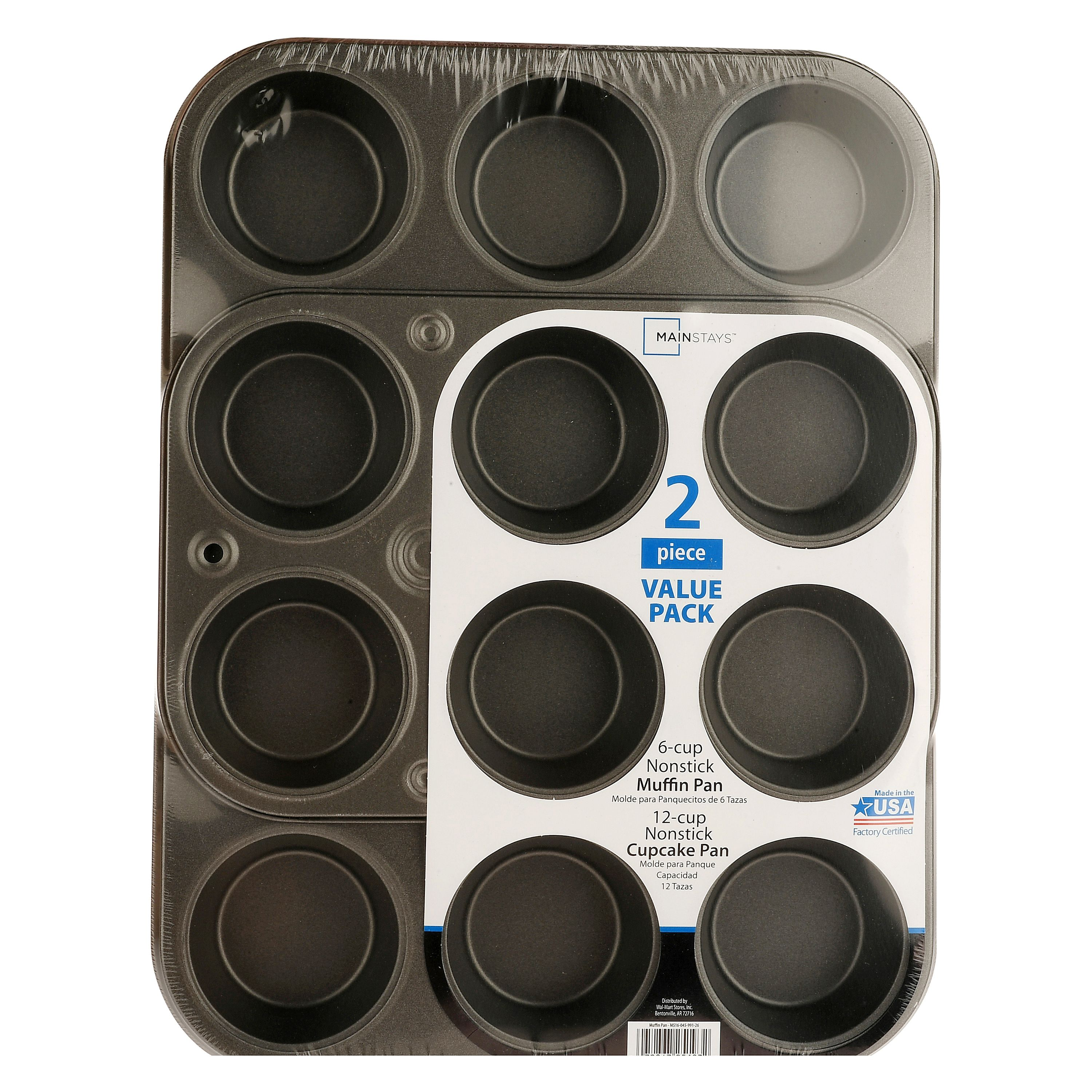 Mainstays, 2 Piece Nonstick Muffin and Cupcake Pans
