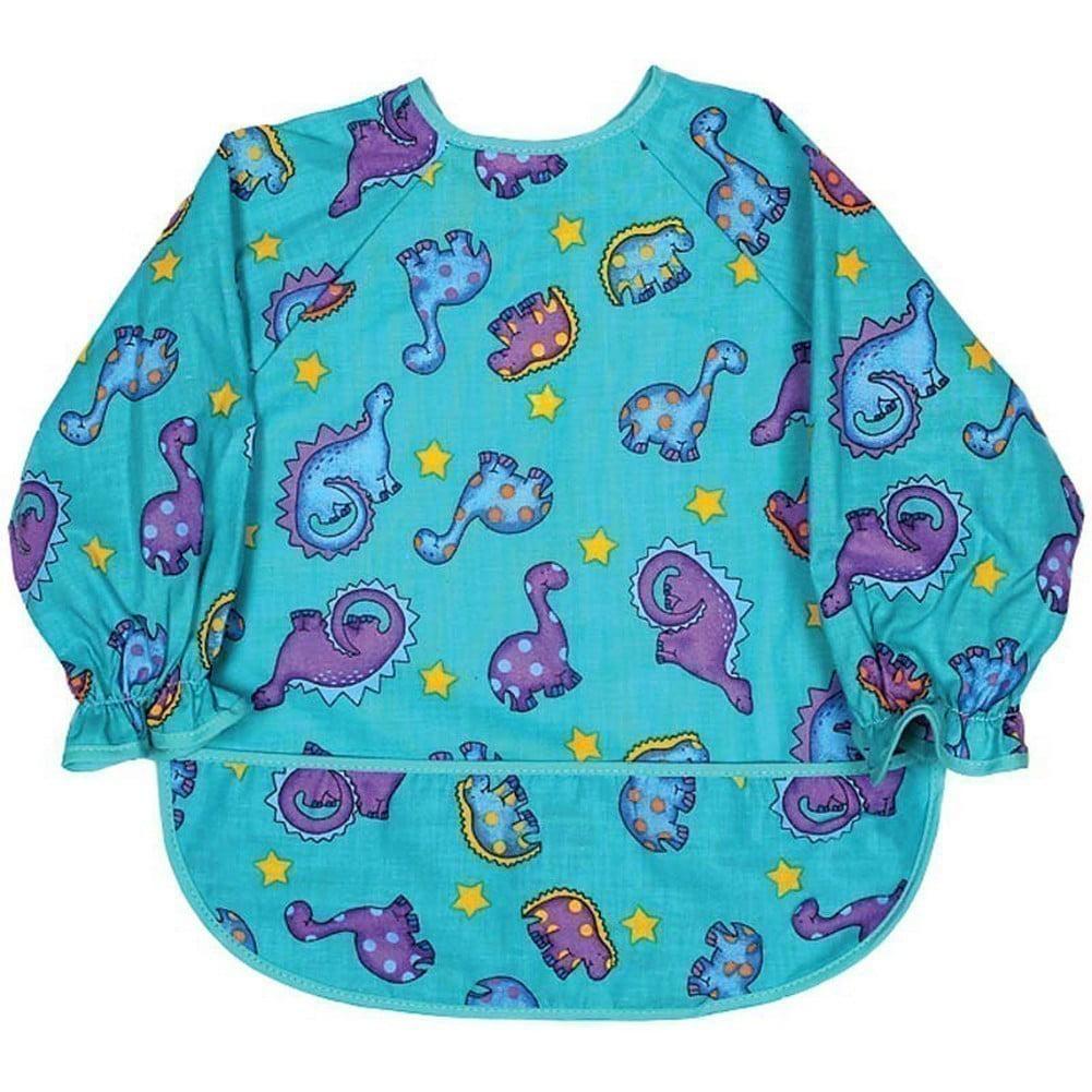 Raindrops Unisex Baby Long Sleeve Print Bib-Jade Dinosaur Boy Print by Raindrops
