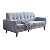 9.6''x33.4''x 34.6'' Gray Linen Sofas & Couches, Mid-Century Sectional Sofas with Medium Soft Cushions, Grey Linen Loveseat Sofa Beds with Solid Wood Frame and Wood Leg for Small Space, Grey, S5180