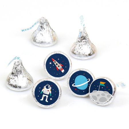 Space Birthday Party Ideas (Blast Off to Outer Space - Rocket Ship Baby Shower or Birthday Party Round Candy Sticker Favors - Labels Fit Hershey's Kisses (1 Sheet of)
