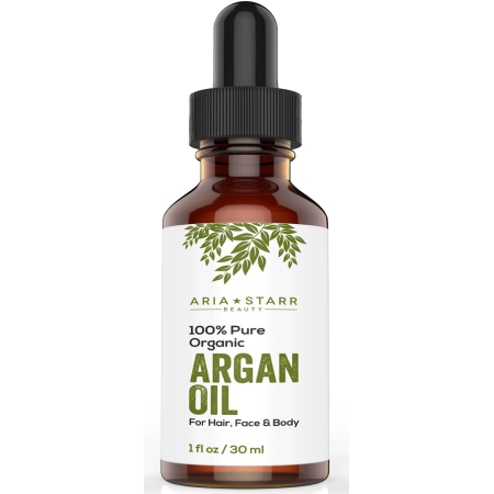 Aria Starr ORGANIC Argan Oil For Hair, Skin, Face, Nails, Beard & Cuticles - Best 100% Pure Moroccan Anti Aging, Anti Wrinkle Beauty Secret, Certified Cold Pressed (Best Way To Moisturize Beard)