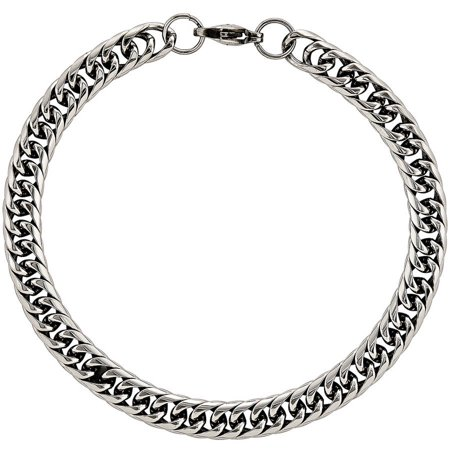 - Stainless Steel Polished Double Curb Chain Bracelet, 9