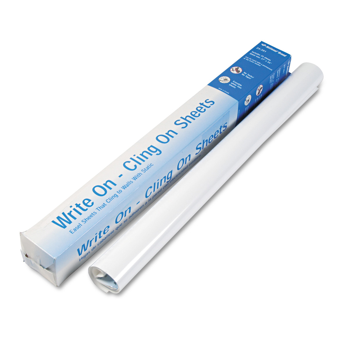 National Write On Cling On Easel Pad, Unruled, 27 x 34, White, 35 Sheets -RED24391