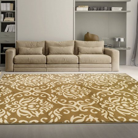 Superior Elegant Scrolling Damask Pattern, 10mm Pile with Jute Backing, Affordable Contemporary Area Fleur de Lis Collection Area Rugs (De Lis Fleur Rug)