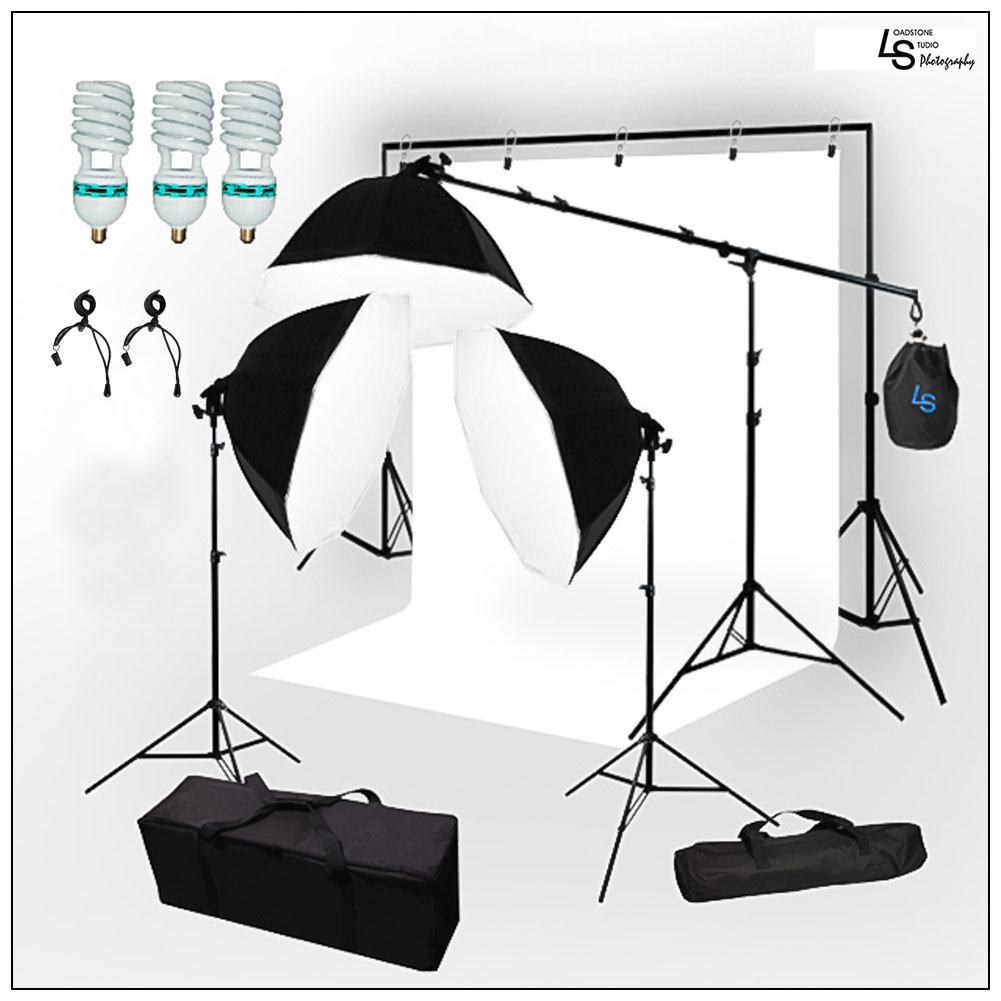 Octagon Softbox Light Stand Kit with Boom Arm Extension and Backdrop Support Stand for Photo and Video by Loadstone Studio WMLS1009