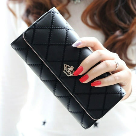 New Fashion Women Purse Wallet Long Card Holder Clutch Leather PU Wallets Crown - image 5 of 5