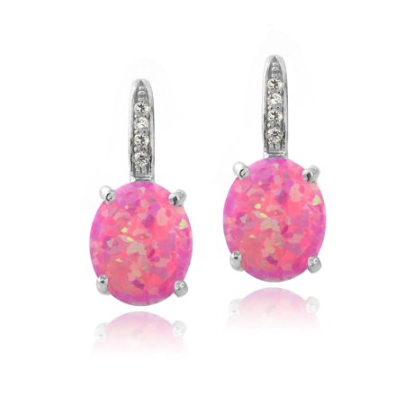 Sterling Silver Created Pink Opal & Diamond Accent Oval Leverback Earrings Created Opal Leverback Earrings