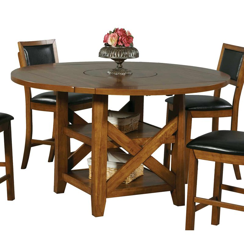 Winners Only DFWT14660R Westchester Tall Table with Storage Base & Lazy Susan