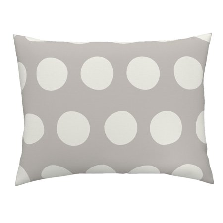 Polka Dots Large Circles Large Scale Gray Abstract Pillow Sham by Roostery