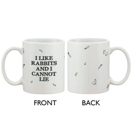 White Ceramic Bunny (Funny and Cute Bunny Ceramic Coffee Mug - I Like Rabbits and I Cannot)