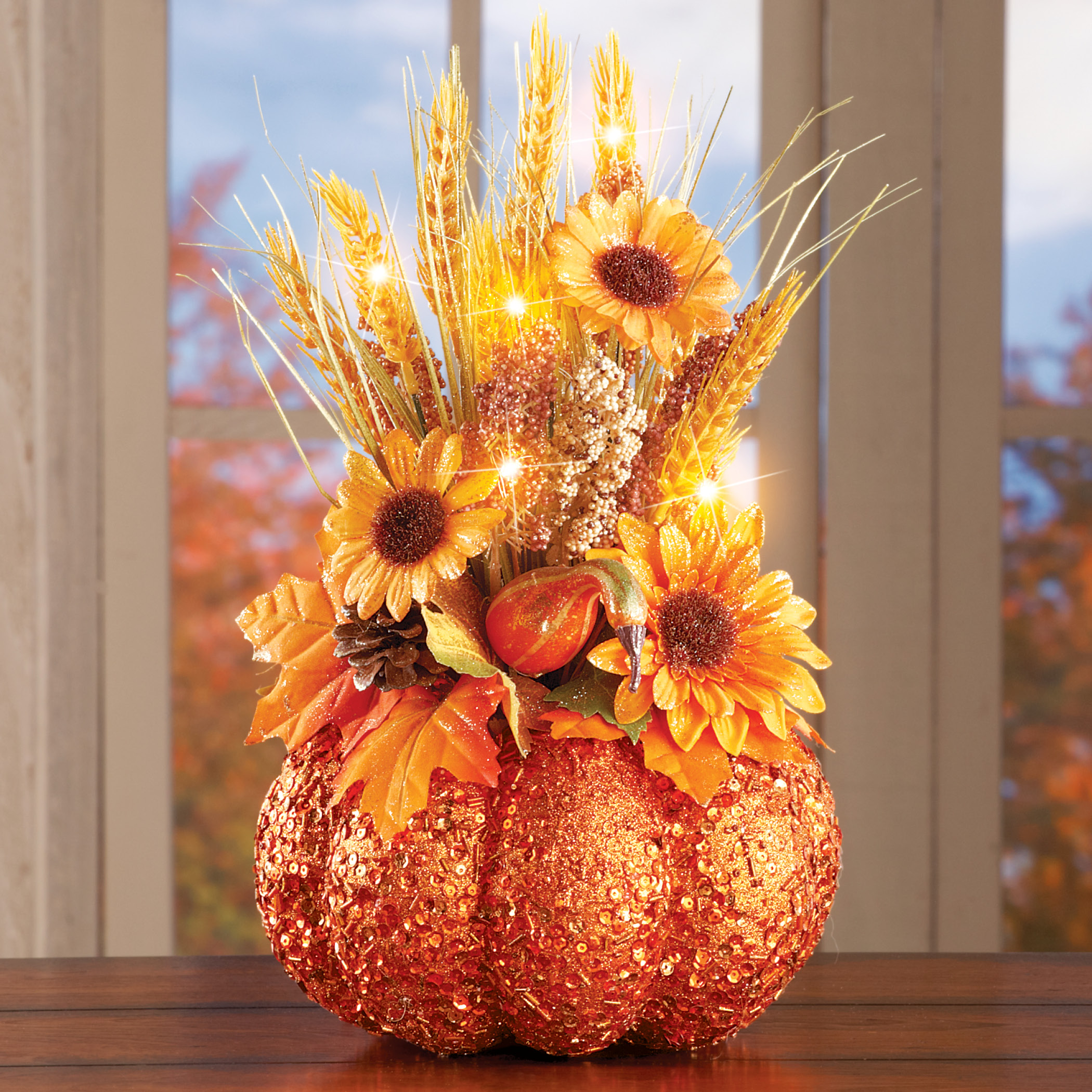 Fall Decor Collections Etc Glittered Light Up Pumpkin Harvest Centerpiece for Thanksgiving