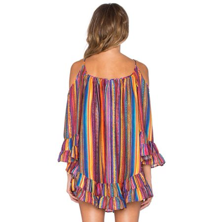 Women's Summer Rainbow Print Fringed Beach Dress Loose Chiffon Strap -