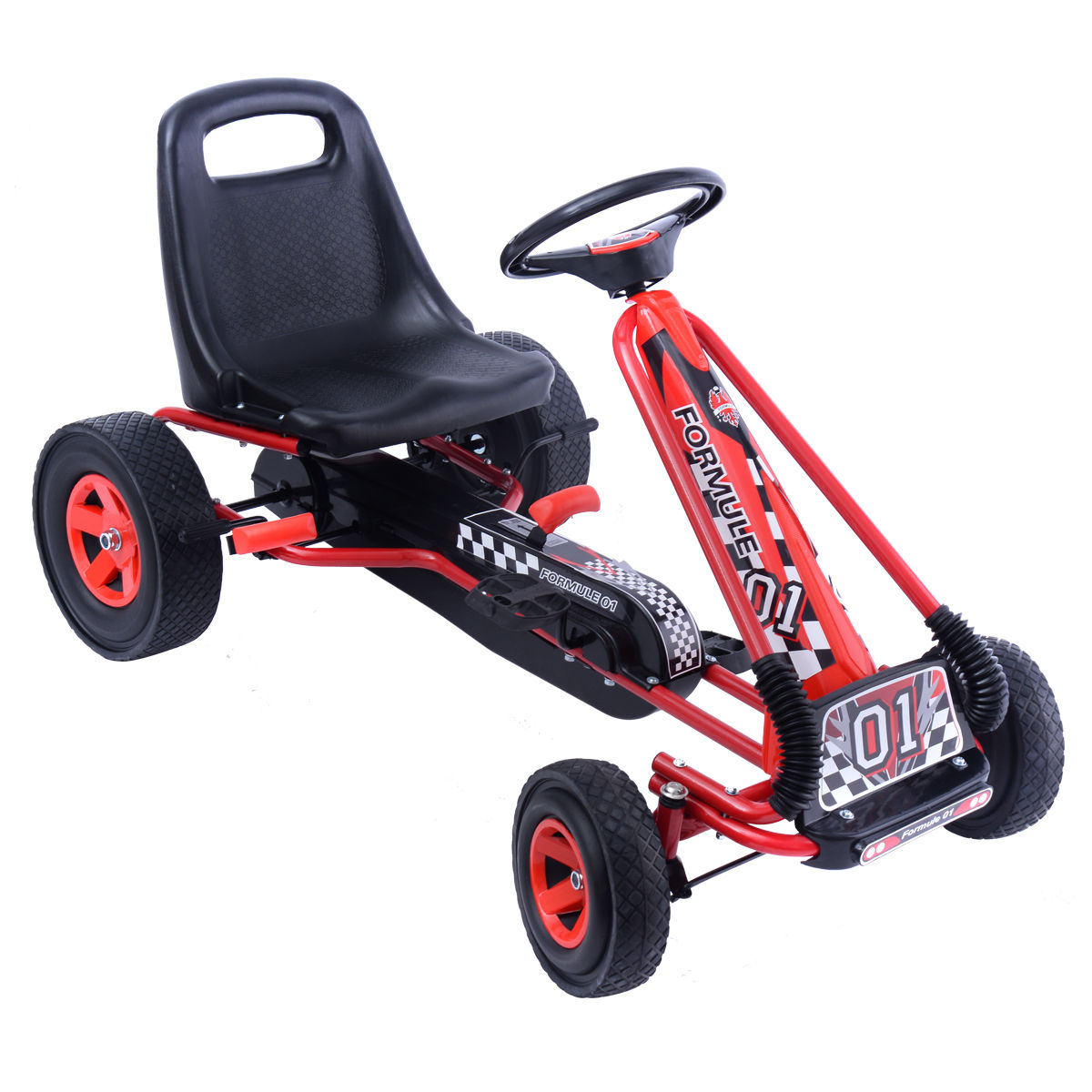Costway 4 Wheels Kids Ride On Pedal Powered Bike Go Kart Racer Car Outdoor Play Toy by Costway
