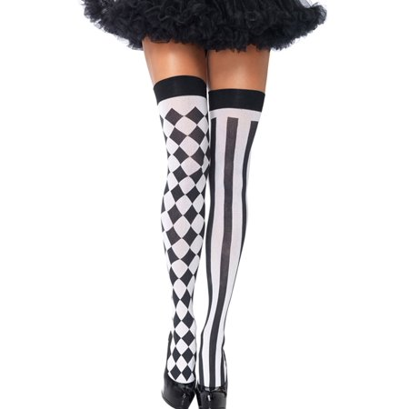 High Stockings, Coxeer Womens Halloween Costume Harlequin Thigh High Stockings Extra Long Silk
