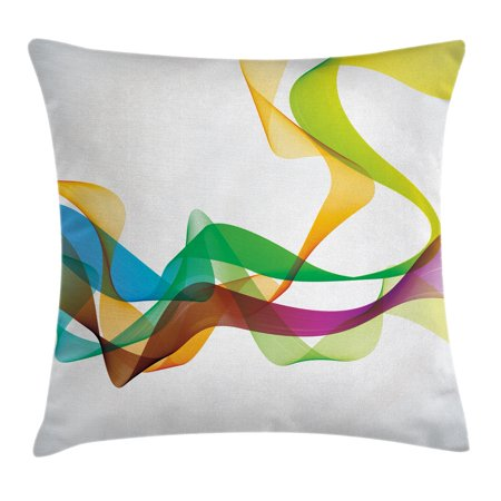 Abstract Decor Throw Pillow Cushion Cover, Artistic Wavy Ribbon Line and Smoke Rainbow like Cool Graphic Artwork, Decorative Square Accent Pillow Case, 18 X 18 Inches, Multi Colored, by Ambesonne ()