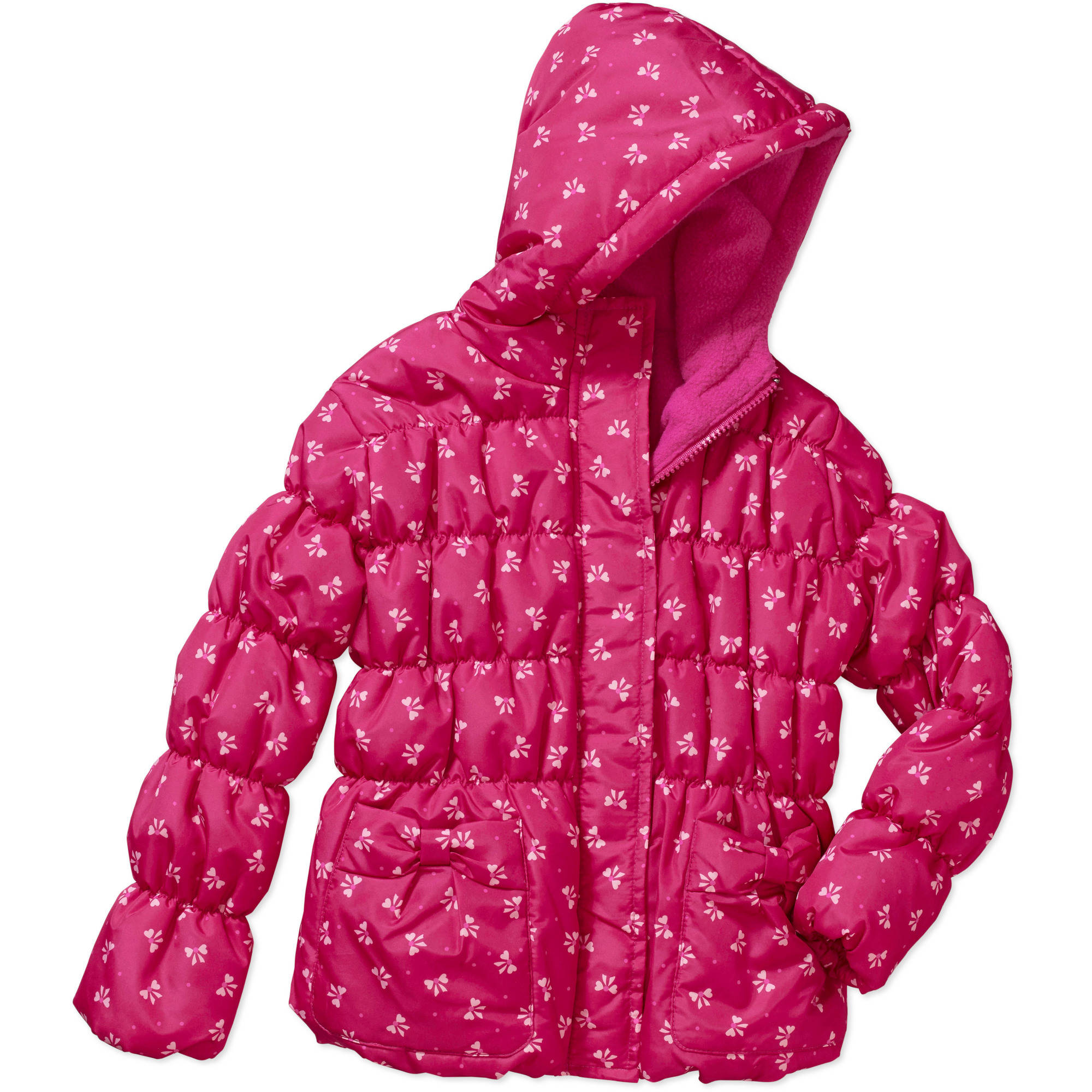 Climate Concepts Little Girls' Printed Bubble Jacket with Bow Pockets