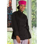 uncommon threads women's navona fit chef coat, black, small