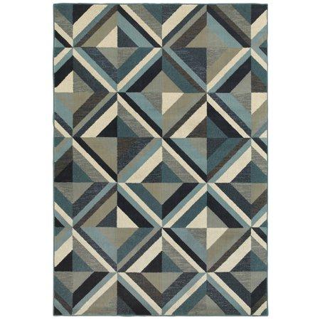 Diagonal Accent (Moretti Linden Area Rugs - 7902A Contemporary Blue Blocks Diamond Repeat Diagonals Rug )