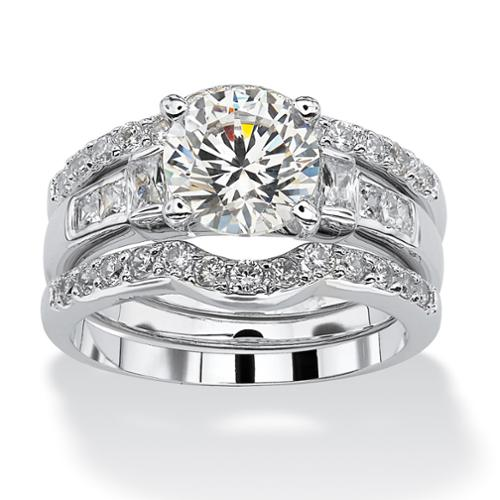 2.95 TCW Round Cubic Zirconia Platinum over Sterling Silver 3-Piece Bridal Engagement Ring Set - Size 9