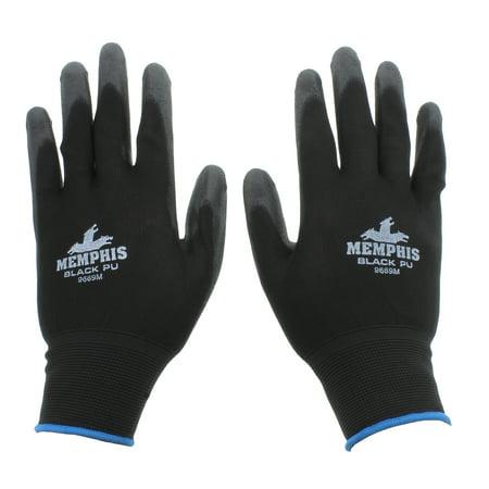 MCR Safety 9669M 13 Gauge Black Nylon Shell, PU Palm Gloves, Medium, 1 Pair