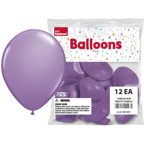 "Way to Celebrate Pretty Purple 12"" Balloons, 12pk"