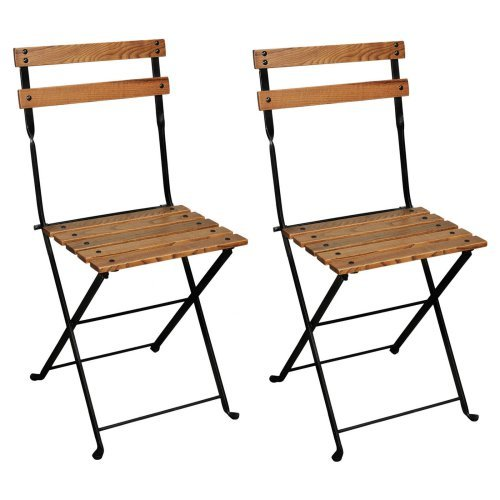 Furniture Designhouse French Veranda European Cafe Folding Side Chair with European Chestnut Wood Slats - Set of 2