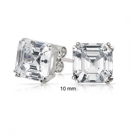 4CT Solitaire Square Asscher Cut CZ Prong Set Cubic Zirconia Stud Earrings For Women 925 Sterling Silver ()
