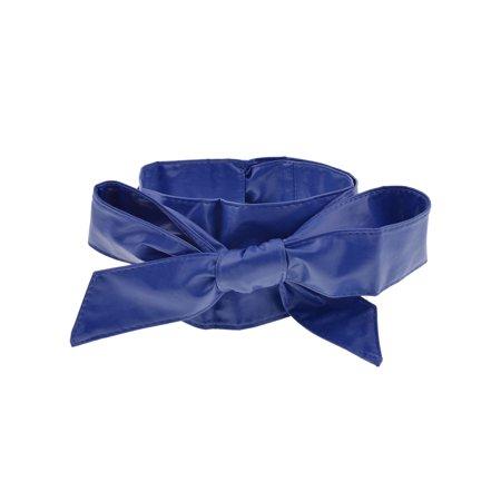 Obi Sash (Women Blue Self Tie Faux Leather Wide Obi Sash Waist Belt Wrap Bands 2.2M )