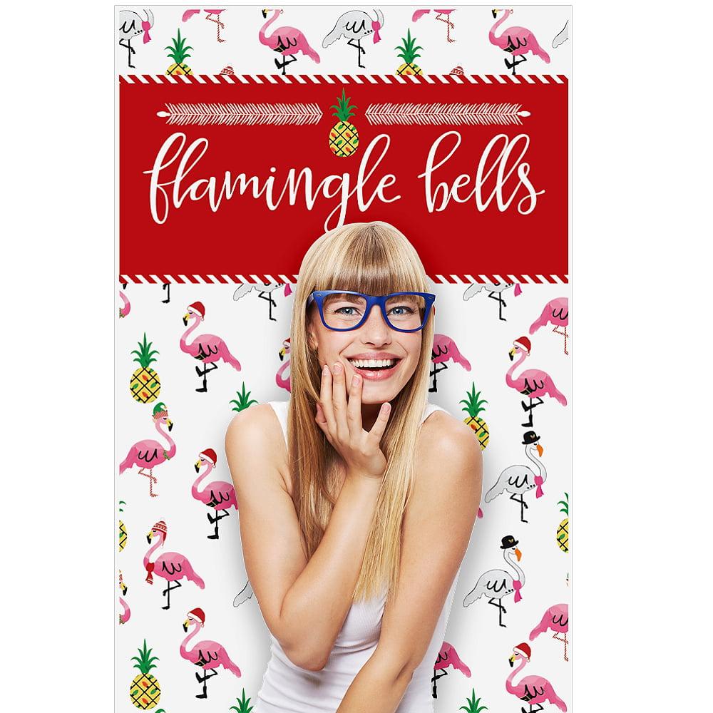 "Flamingle Bells - Tropical Flamingo Christmas Party Photo Booth Backdrops - 36"" x 60"""