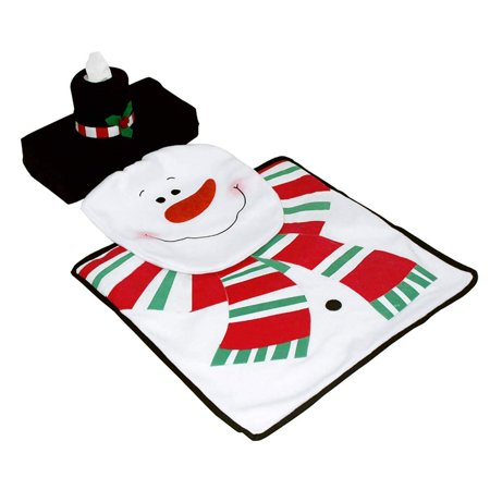 Toilet Lid Tank Cover and Rug Set Bathroom Christmas Decorations Party Gifts - Happy - Happy Christmas Gifts Snowman