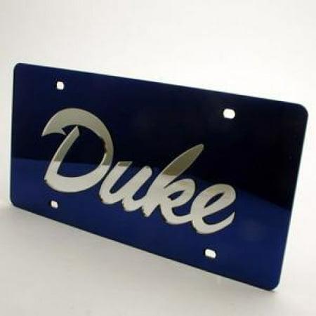 Duke Blue Devils Inlaid Acrylic License Plate - Blue Mirror Background