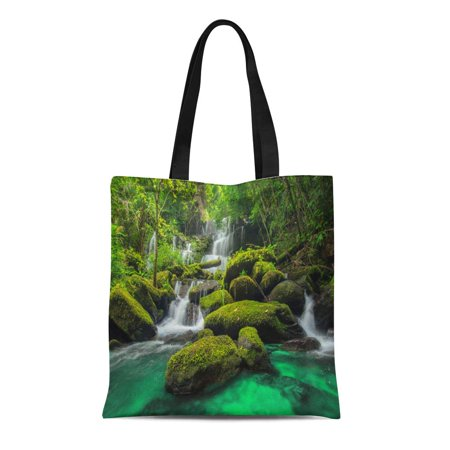 SIDONKU Canvas Bag Resuable Tote Grocery Shopping Bags Beautiful Waterfall in Green Forest Jungle at Phu Tub Berk Tote Bag