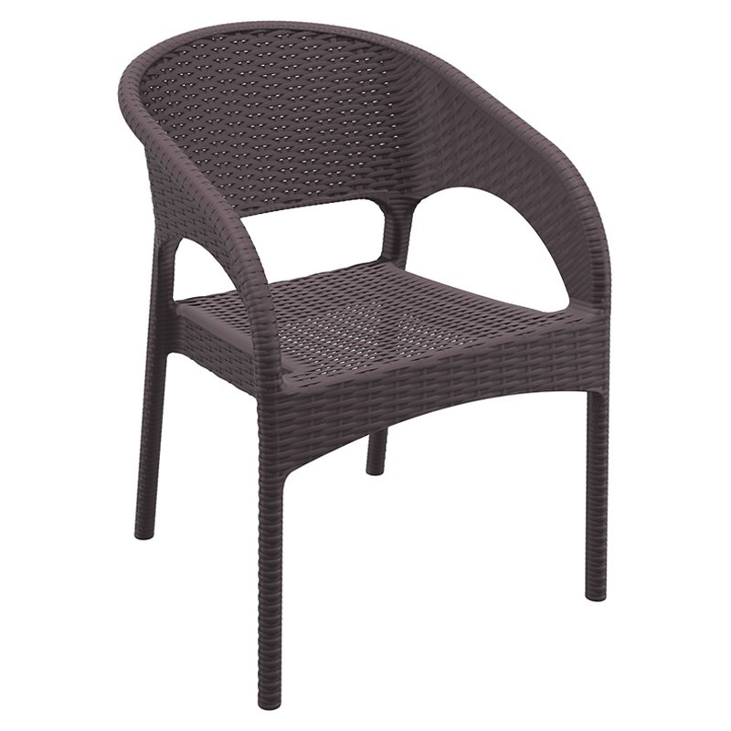 Compamia Panama Resin Faux Wicker Patio Dining Arm Chairs with Optional Cushion - Set of 2