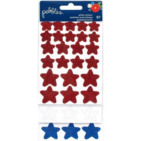 America The Beautiful Glitter Stickers, 3/Sheets, Red, White and Blue Stars